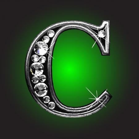 silver figure with diamonds