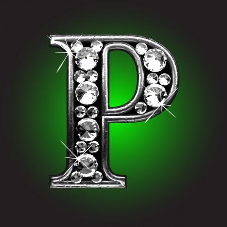 diamond letters: silver figure with diamonds  Illustration