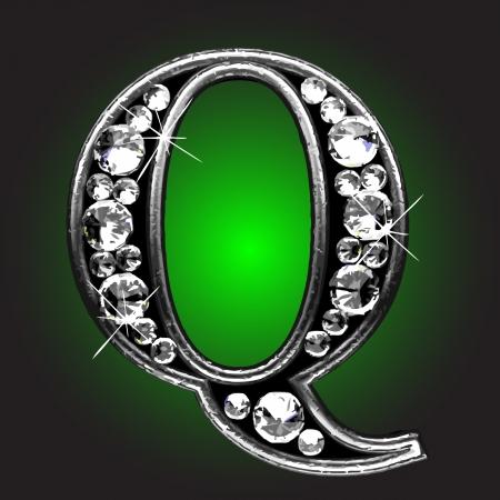 letter q: silver figure with diamonds  Illustration