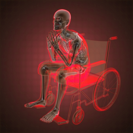 Man in wheelchair made in 3D Stock Photo - 14111492