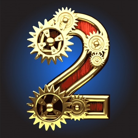 wooden figure with gears made in vector Vector
