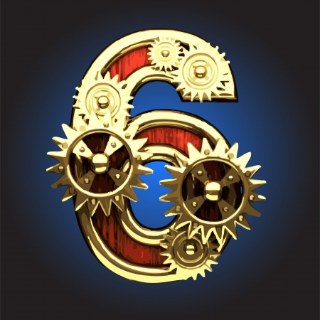 wooden figure: wooden figure with gears made in vector