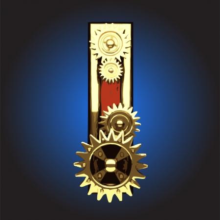 wooden figure with gears Vector