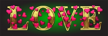 golden love with hearts on green photo