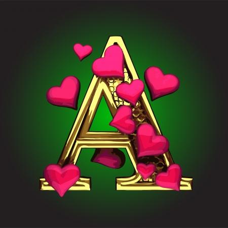 lettre alphabet: chiffre d'or avec des coeurs faits dans le vecteur Illustration