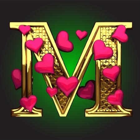 şehvet: vektör yapılan kalpleri ile altın rakam