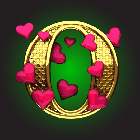golden figure with hearts made in vector