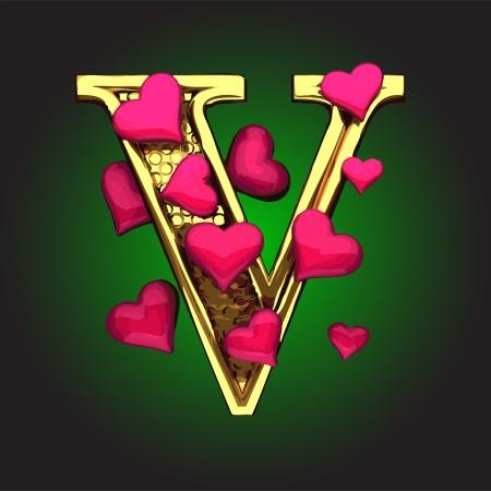 şehvet: vektör yapılan kalpleri ile altın figürü
