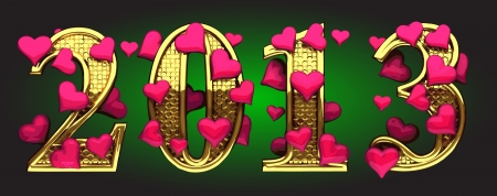 2013 of gold with hearts on green Stock Photo - 14395686