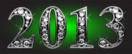 silver 2013 with diamonds on green Stock Photo - 14395694