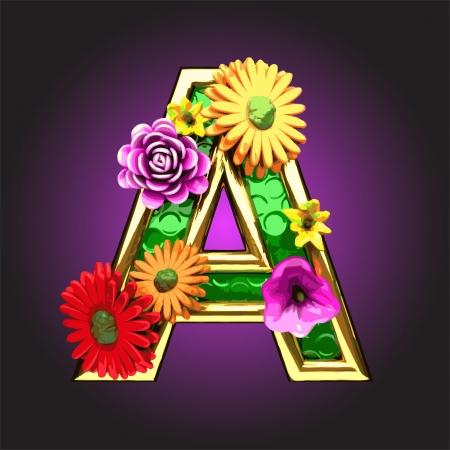 golden daisy: Figura verde con flores