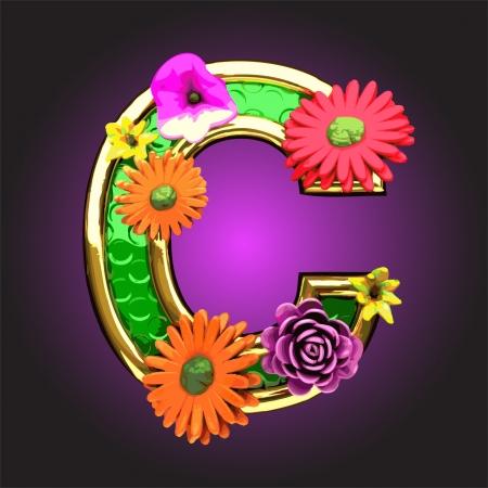 golden daisy: Vector verde figura con flores hechas en el vector