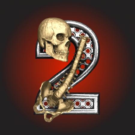 death metal: Metal figure with skeleton  Illustration
