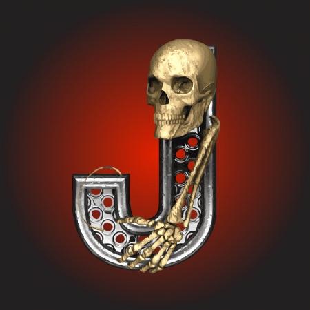 leven en dood: Metalen figuur met skelet gemaakt in vector