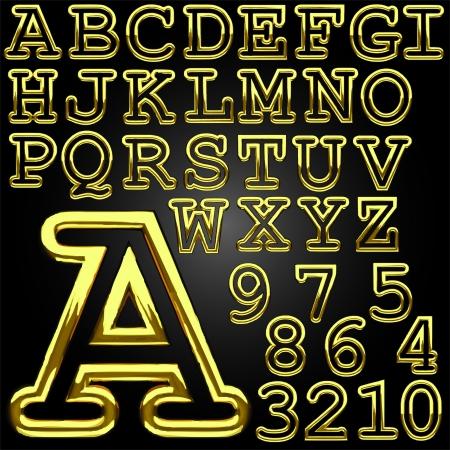 golden alphabet  made in vector