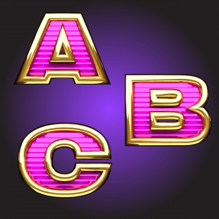 Vector pink letters with gold Vector