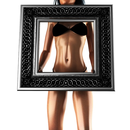 bikini woman with retro frame photo
