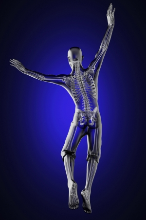 adult bones: jump man radiography made in 3D