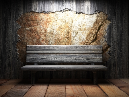 Old wooden wall and bench photo