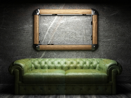 leather sofa and frame in dark room 写真素材