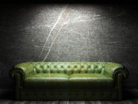 leather sofa in dark room 写真素材