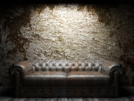leather sofa in dark room photo