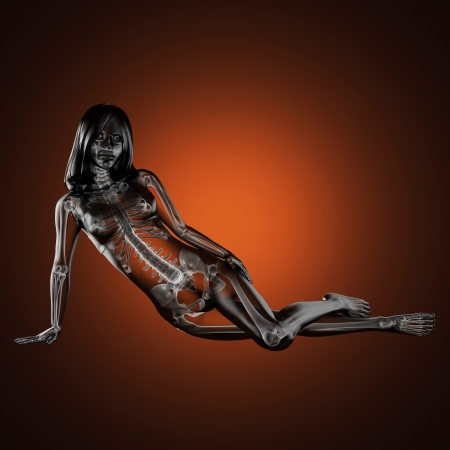 3D로 만들어진 귀여운 여자 방사선 스톡 콘텐츠