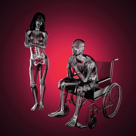 Man in wheelchair made in 3D Stock Photo - 16160337