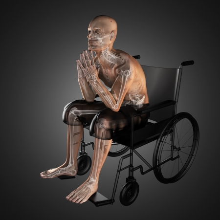Man in wheelchair made in 3D Stock Photo - 16160312