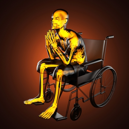 Man in wheelchair made in 3D Stock Photo - 16226699
