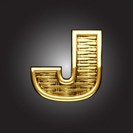 letter j: Vector golden figure
