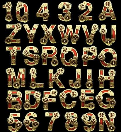 raster alphabet with gearwheels