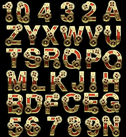 raster alphabet with gearwheels photo