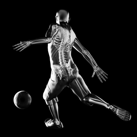 fitness goal: soccer game player made in 3D Stock Photo