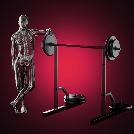 human radiography scan in gym room made in 3d photo