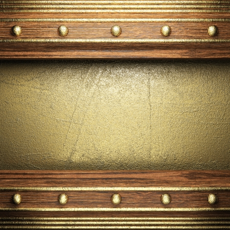 wood on golden wall made in 3D Stock Photo - 16378891