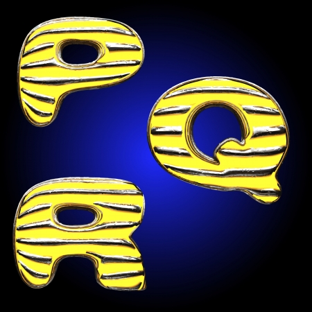 Yellow letter with metal Vector