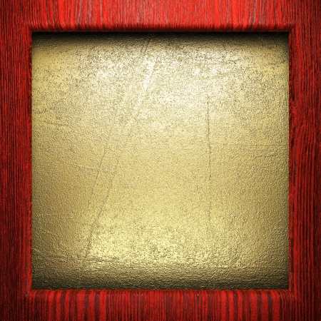 wood on golden wall made in 3D Stock Photo - 16517000