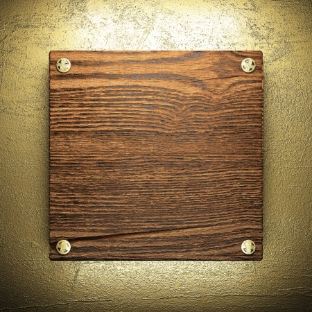 wood on golden wall made in 3D Stock Photo - 16517021