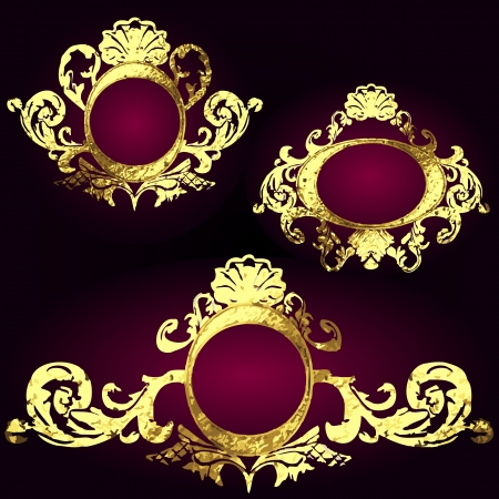 vector golden frames set Stock Vector - 16843042