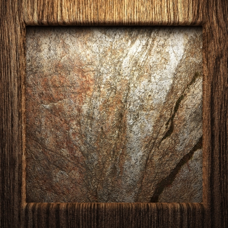 wooden plate on wall made in 3d photo