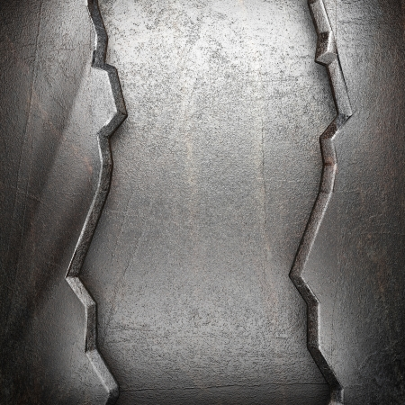 metallic grunge: metal on wall made in 3d Stock Photo