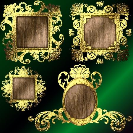 golden frames set Stock Vector - 17013579