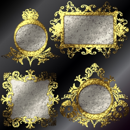 vector golden frames set Vector