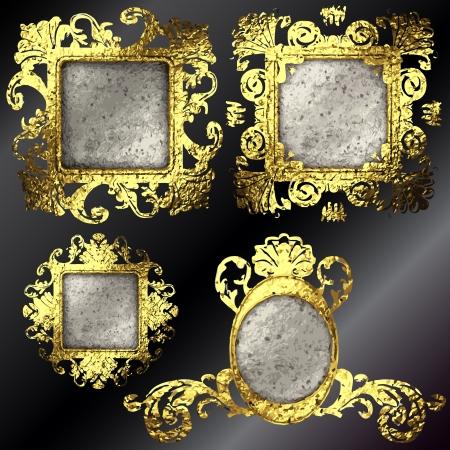 vector golden frames set Stock Vector - 17254301