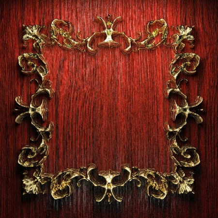 vintage golden frame on the wall Stock Photo - 17418042