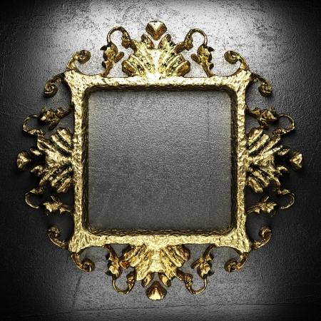 vintage golden frame on the wall Stock Photo - 17498592