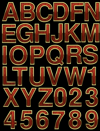 wooden alphabet with gold on black Stock Photo - 17498530