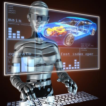 robot: przejrzysta koncepcja samochodu na LED Zdjęcie Seryjne