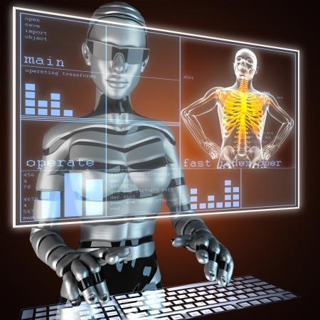 osteoporosis: scan radiograf�a humana en holograma